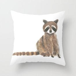 baby raccoon watercolor Throw Pillow
