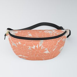 lines pattern with orange bouquet Fanny Pack