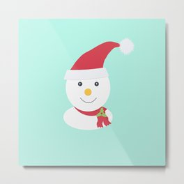 Cute happy snowman Metal Print