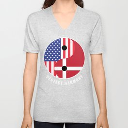 USA Denmark Ying Yang Heritage for Proud Danish American, Biracial American Roots, Culture, Unisex V-Neck