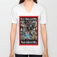 fault V-neck T-shirts featuring FAULT WITH REALITY by LIGGYZIGHAT