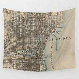 Vintage Map of Milwaukee Wisconsin (1899) Wall Tapestry