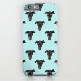 Greyhound Puppy Face Pattern over Blue Sky iPhone Case