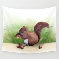 squirrel Wall Tapestries featuring Squirrel by Carmen Lai Graphics