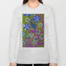 Starry Floral Felted Wool, Moss Green and Violet Long Sleeve T-shirt