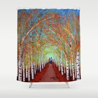 birch Shower Curtains featuring Autumn Birch  by maggs326