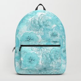 Turquoise aqua flower lace pattern Backpack