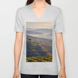 morning mists in the Vale do Douro Unisex V-Neck