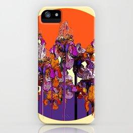 "modern art "" PURPLE & CREAM "" ORANGE IRIS GARDEN iPhone Case"