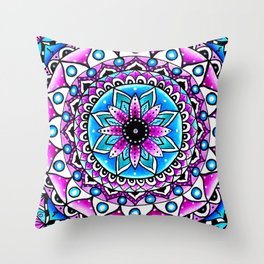 Mandala #2 Wall Tapestry Throw Pillow Duvet Cover Bright Vivid Blue Turquoise Pink Contempora Modern Throw Pillow
