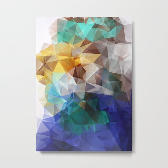 Abstract background of triangles polygon print. Bright design colors Metal Print