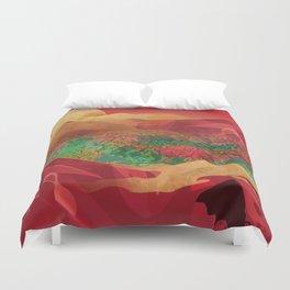 """Tropical golden sunset over fantasy pink forest"" Duvet Cover"