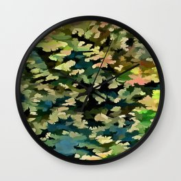 Foliage Abstract In Green, Peach and Phthalo Blue Wall Clock