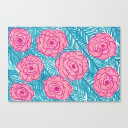 Tropical Palm Leaves and Roses Print Canvas Print