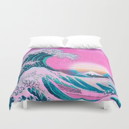 Vaporwave Aesthetic Great Wave Off Kanagawa Sunset Duvet Cover