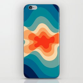 Retro 80s Blue and Orange Mid-Century Minimalist Abstract Art iPhone Skin