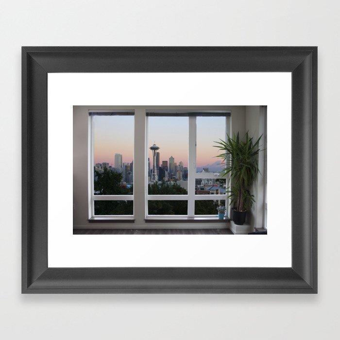 Seattle Skyline Window View Gerahmter Kunstdruck