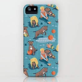Memories of a Sweet Pit Bull Doggie Friend named Venice // blue linen texture background iPhone Case