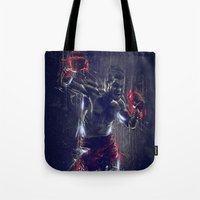 boxing Tote Bags featuring DARK BOXING by Ptitecao