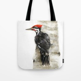 Pileated Woodpecker Watercolor Tote Bag