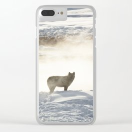 Yellowstone National Park - Wolf and Hot Spring Clear iPhone Case
