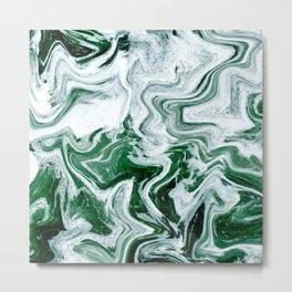 Green Ocean Marble Metal Print