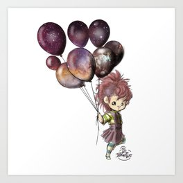 Space Balloons - (Square) Art Print