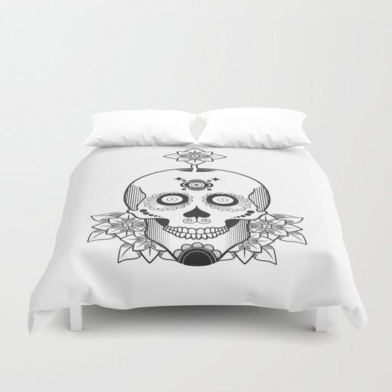 Skull and Flowers Duvet Cover