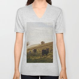 Cattle grazing on mountainside. Derbyshire, UK. Unisex V-Neck