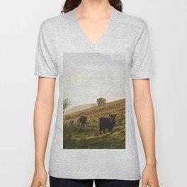 Cattle grazing on mountainside. Derbyshire, UK. Unisex V-Neck