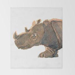 Thinking Rhinoceros Throw Blanket