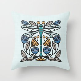 Dragonfly tile Throw Pillow