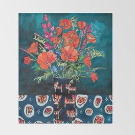 California Poppy and Wildflower Bouquet on Emerald with Tigers Still Life Painting Throw Blanket