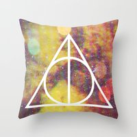 deathly hallows Throw Pillows featuring Deathly Hallows by Michal