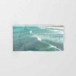 California Surf // Coastal Spring Waves Teal Blue and Green Ocean Huntington Beach Views Hand & Bath Towel