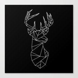 Geometric Stag (White on Black) Canvas Print