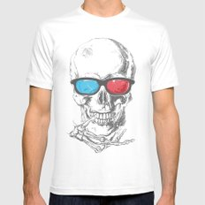 3Death MEDIUM Mens Fitted Tee White