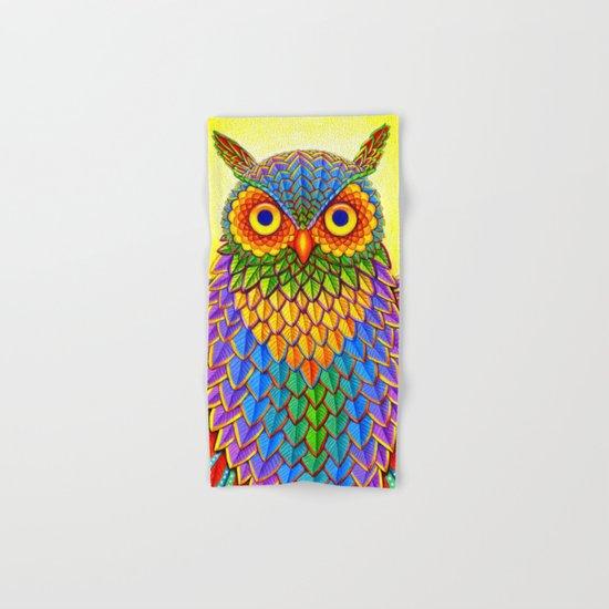 Psychedelic Rainbow Owl Hand & Bath Towel