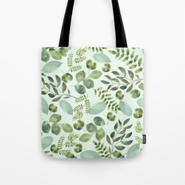 Watercolor mint forest green leaf greenery floral Tote Bag