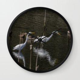 Three Great Egrets Among the Ducks, No. 1 Wall Clock