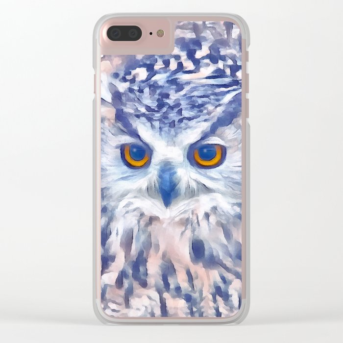 Fluffy owl Clear iPhone Case