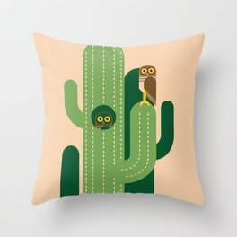 Burrowing owls and cacti vector illustration Throw Pillow
