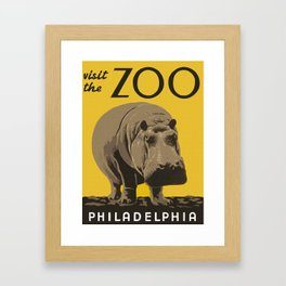 Vintage Visit The Zoo Hippo Framed Art Print
