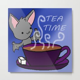 Batty for Tea Metal Print