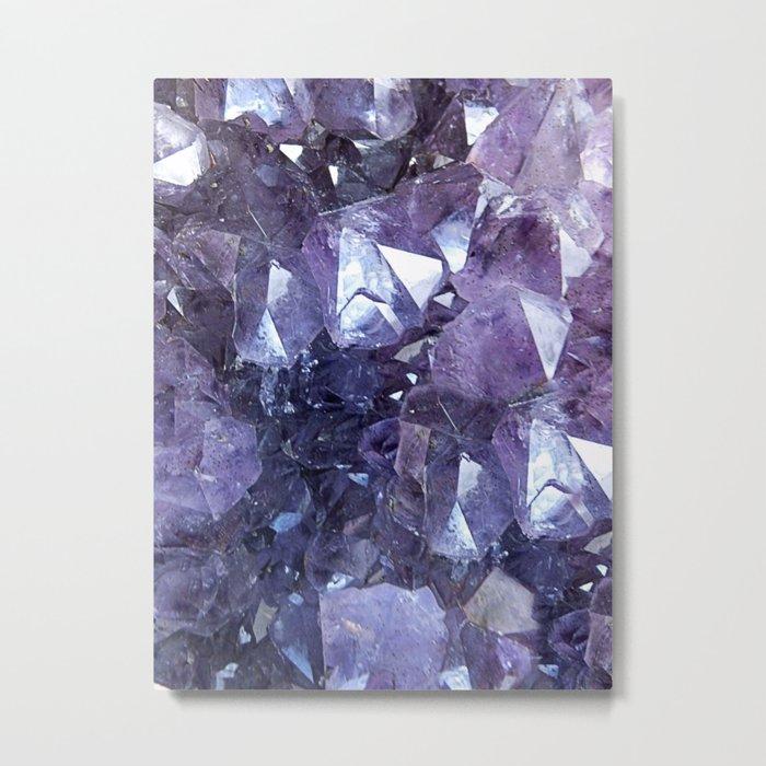 Amethyst Crystal Cluster Metal Print