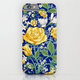 Yellow Roses Chintz Pattern | Navy Blue iPhone Case