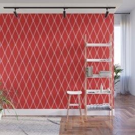 Nautical Fishing Net (Red and White) Wall Mural