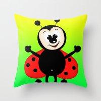 ladybug Throw Pillows featuring Ladybug by Digital-Art