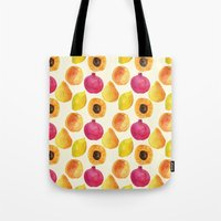 fruits Tote Bags featuring Fruits by Alexandra Dzh
