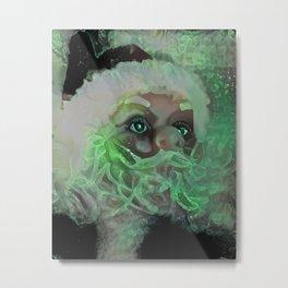 Green Santa Metal Print